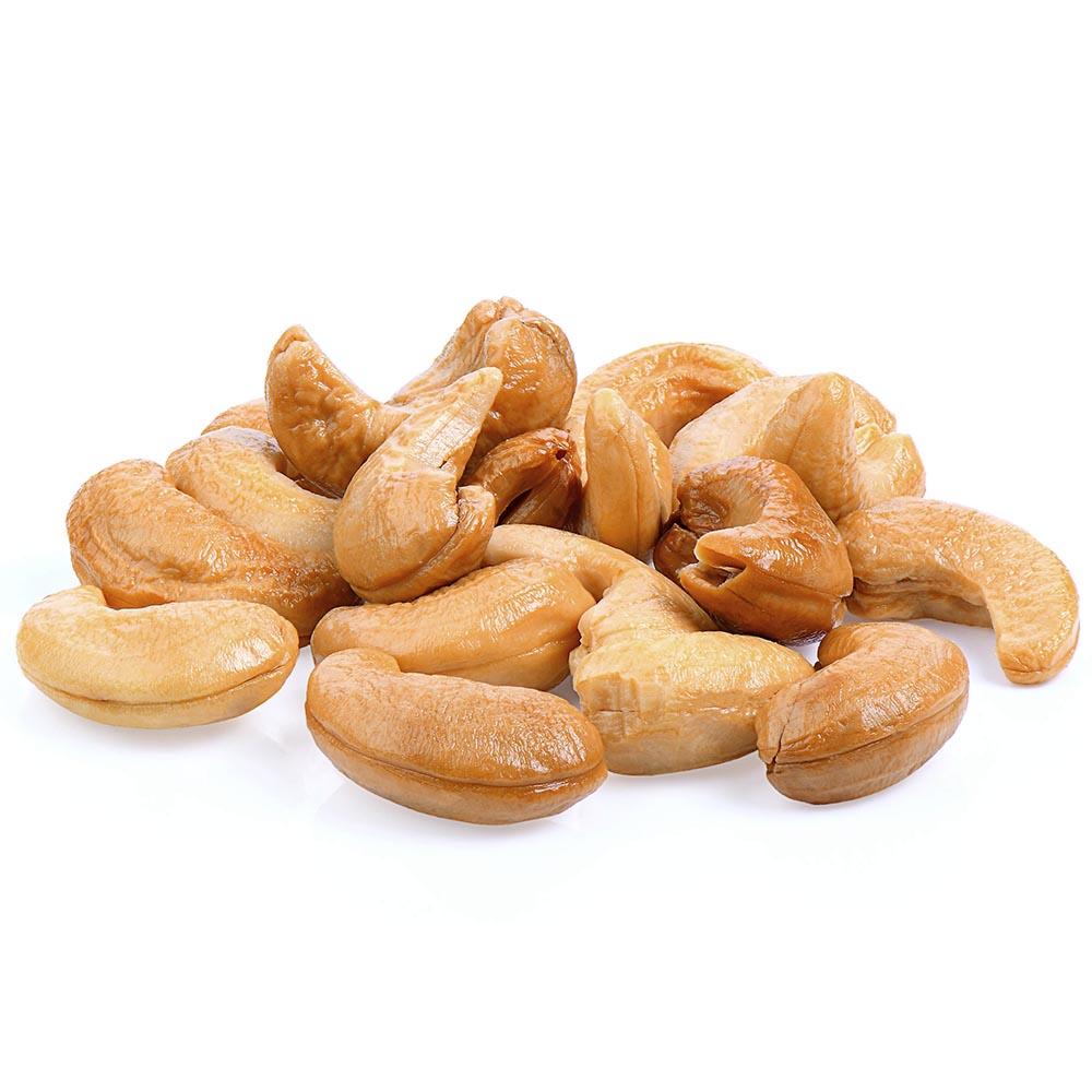 ANACARDO roasted cashews isolated on white background 1000p