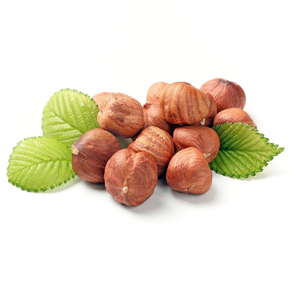 AVELLANA CRUDA tasty hazelnuts with leaves isolated on white background 1000p