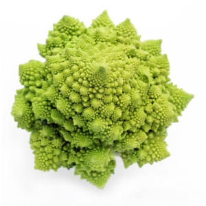 BROCOLI romanesco broccoli isolated on white background top view 1000p