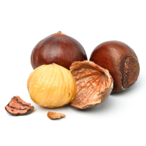 CASTAÑAS close up chestnuts with peeled isolated on white 1000p