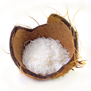 COCO fresh coconut flakes placed in bark and shell isolated on white background 1000p
