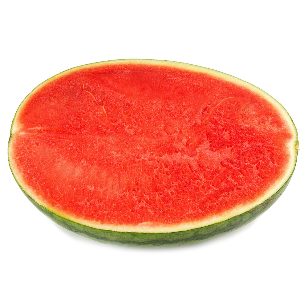 SANDIA SIN SEMILLAS half of ripe watermelon isolated on white background 1000p